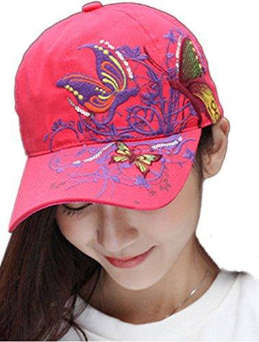 Thenice Damen Schmetterlings-Stickerei- Vintage Baseball Cap Snapback Trucker Hat (rote)