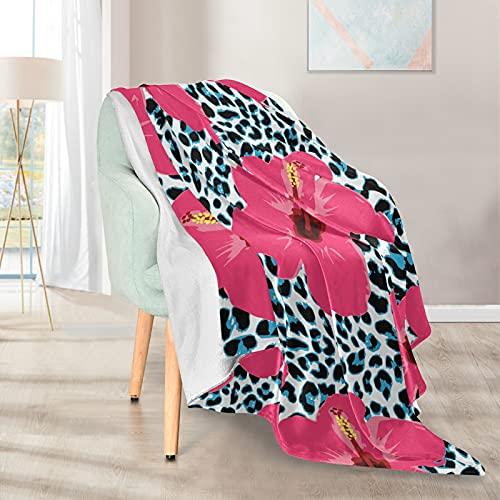 Mantas suaves y cálidas, 127 x 152 cm, diseño de flores de leopardo, ligera, corta, de microfibra, 1 para el hogar, cama, sofá, silla, viaje, camping, oficina