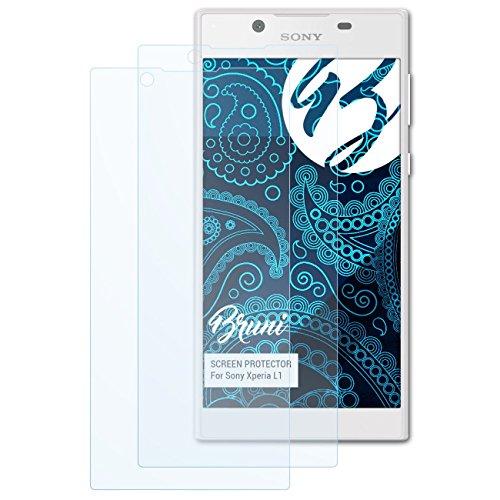 Bruni Schutzfolie kompatibel mit Sony Xperia L1 Folie, glasklare Bildschirmschutzfolie (2X)