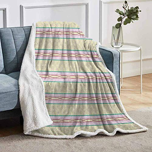 """YUAZHOQI Geometric Throw Blanket for Couch Bed Curlicues with Horizontal Line Pattern Swirled and Curved Lines Abstract Design Throw for Girlfriend Best Friend 50"""" x 60"""" Multicolor"""