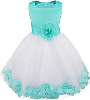 dbadd1e32e1dd TiaoBug Enfant Fille Robe de Soirée Robe de Cérémonie Fleur Robe Demoiselle  Princesse Ceinture Noeud Papillon