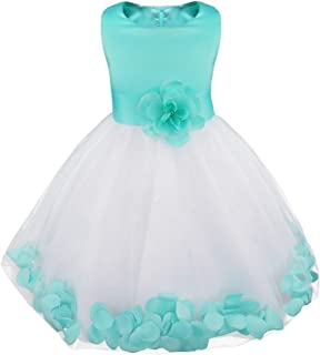 Girls Petals Tulle Princess Wedding Pageant Party Flower Girl