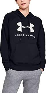 Under Armour Women's Rival Fleece Sportstyle Graphic Hoodie, Black (Black/Onyx White), X-Large