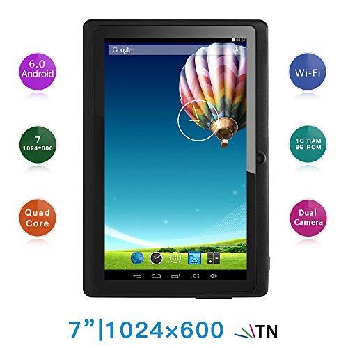 Haehne 7 Zoll Tablet PC, Google Android 4.4, A33 Quad Core, 512MB RAM 8GB ROM, Dual Kameras, WiFi, Bluetooth, für Erwachsener Kinder, Schwarz