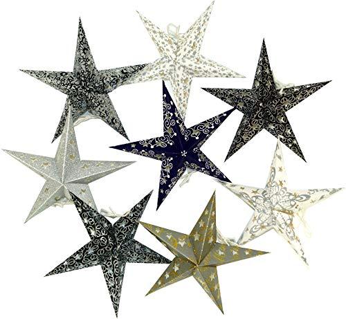 Guru-Shop 8 Stk. Stern Lichterkette, Papier Ministern 20 cm Set, Faltbar - Schwarz/weiß/grau/glitter, Papiersterne 20 cm für Lichterketten