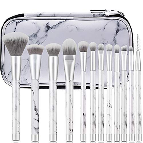 Pinceau De Maquillage Set 12 Pcs Maquillage Violet Maquillage Brushmarble Pinceau De Maquillage En Plastique Brosse Pinceau De Maquillage Set Professional Premium Synthétique Fondation,Blanc