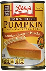 Libby's 100% Pure Pumpkin 15 ounce can (Pack of 6) No GMO ingredients; No fillers or preservatives Naturally gluten free Excellent source of Vitamin A; Good source of fiber Made in America