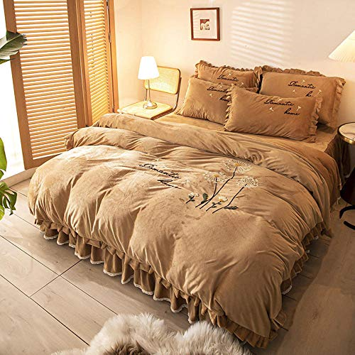 Shinon duvet cover set king size,Winter four-piece coral fleece bed double-sided velvet embroidery duvet cover thick bed skirt bed sheet pillowcase-K_1.8m bed (4 pieces)