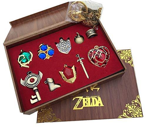 Xiemushop The Legend of Zelda Schwert + Schild Waffe Halskette Pendant Schlüsselanhänger Schmuck Schlüsselanhänger Cosplay Zubehör 10pcs
