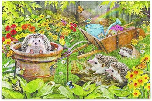 Treasures of The Sea Otters Rompecabezas, rompecabezas de madera, juego familiar de bricolaje, jardín de erizos, 1000 piezas de 19,7 x 31,5 pulgadas