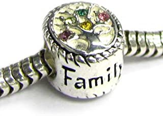 Queenberry Sterling Silver Family Tree of Love Pink Rose Yellow Green Bead for European Chamilia Biagi Troll Pandora Charm Bracelets