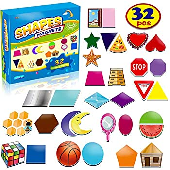 32 Shape and Color Magnets with Real World Objects for Comparison & Associative Memory Perfect for Preschool Learning