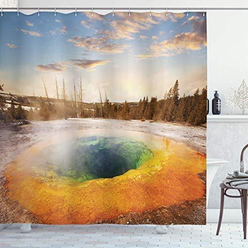 Yellowstone Decor Duschvorhang-Set, Morning Glory Pool in Yellowstone National Park Winterszene, Sehenswürdigkeiten, Badezimmerzubehör, 183 x 183 cm, orangebraun