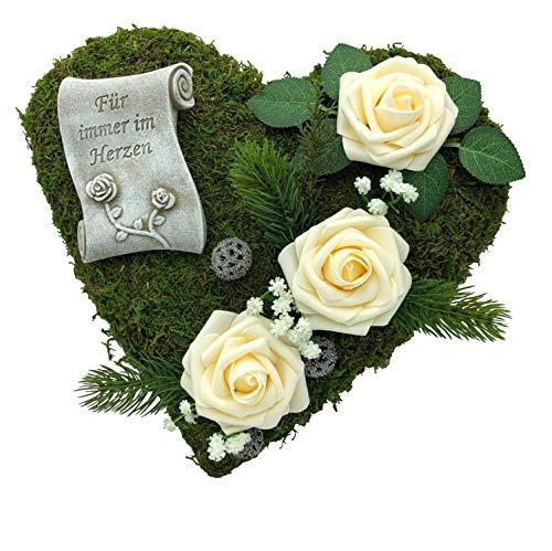 Radami Grabgesteck Grabschmuck Grabaufleger Moosherz Grabherz Kreuz oder Engel Trauerherz Grab Herz Gesteck Rosen (30cm- 3 Rosen Creme Fürim)