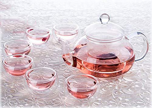 QCCOKNN 1 juego de té C 1 tetera de cristal resistente al calor de 635 ml con tapa + 6 tazas de servicio de té de 30 ml.