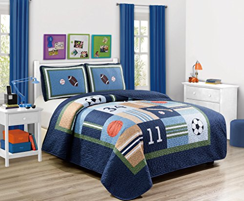 Fancy Linen 2pc Twin/Twin Extra Long Quilt Bedspread Set Over Size Bed Cove Sport Kids Teens Baseball Basketball Football Soccer White Black Orange Brown Set New