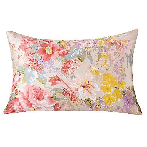 SLPBABY 100% Natural Silk Pillowcase for Hair and Skin, Both Side 16 Momme Silk, Hidden Zipper Design (50x75 cm, Pattern 16)