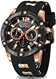 Mens Watches Military Sports Watch(Waterproof,Luminous,Multifunction,Calendar)Silicon Strap Watch for Men