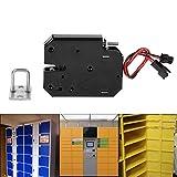 Cerradura eléctrica - Cerradura de cerradura de acero al carbono con control eléctrico electromagnético DC 12V 2A, para gabinete, cajón, casilleros, sin interruptor de detección, negro