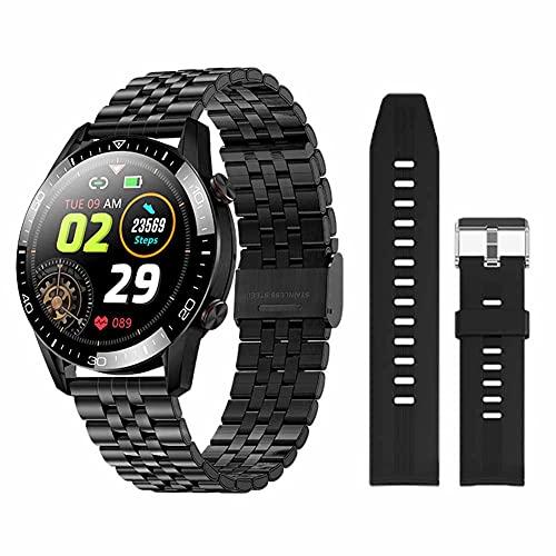 XHJL Rastreador de Ejercicios Relojes Inteligentes Monitor cardíaco, podómetro Contador cronómetro IP68 Resistente al Agua Reloj Deportivo al Aire Libre para Android/iOS, Unisex (Black)