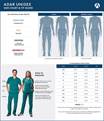 Adar Universal Medical Scrubs Set Medical Uniforms – Unisex Fit – 701 – RYL -2X - 3