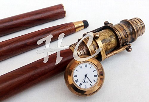 Hanzla Collection Vintage Clock Top Wooden Walking Stick with Hidden Spy Antique Brass Telescope