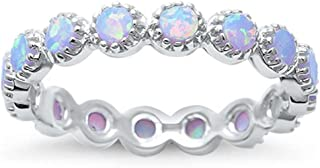 Sterling Silver Round Lab Created White Opal Eternity Ring Sizes 4-11