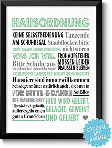 HAUSORDNUNG - Bild mit humorvollen Hausregeln - Rahmen optional -mit Personalisierung - Geschenkidee Einzug Umzug Einweihung Richtfest