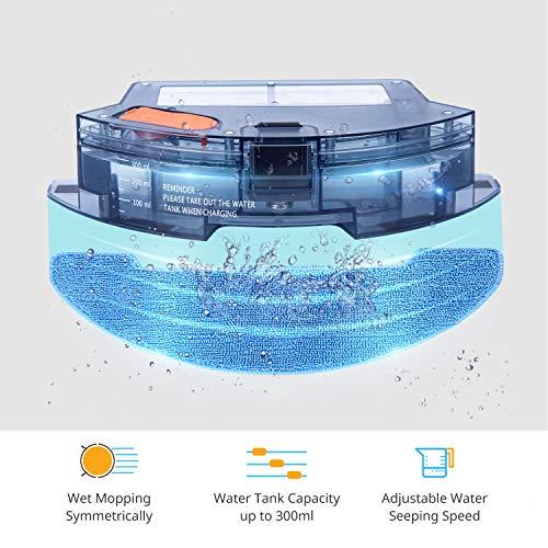 Muzili Saugroboter, Wlan Staubsauger Roboter mit Wischfunktion,App Fernbedienung & Funktioniert mit Alexa, Geräuscharm 350ML Wassertank mit 6 Reinigungsmodi für Tierhaare, Teppiche und harte Böden - 3