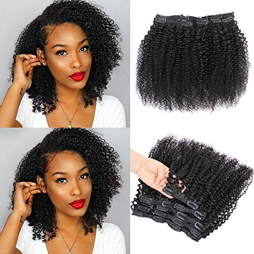 Urbeauty Kinkys Curly Clip in Human Hair Extensions for Black Women, 16 inch Afro 3B 3C Curly clip ins Human Hair Extension 2 Set together 240gram/package Natural Black Clolor