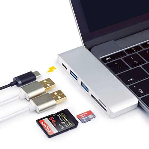 MyGadget Adaptador USB C HUB multiport [USB-C, 2 x USB 3.0, Lector SD & Micro SD Card] - Convertidor Tipo C [5 en 1] para Apple MacBook Pro [Desde 2016]