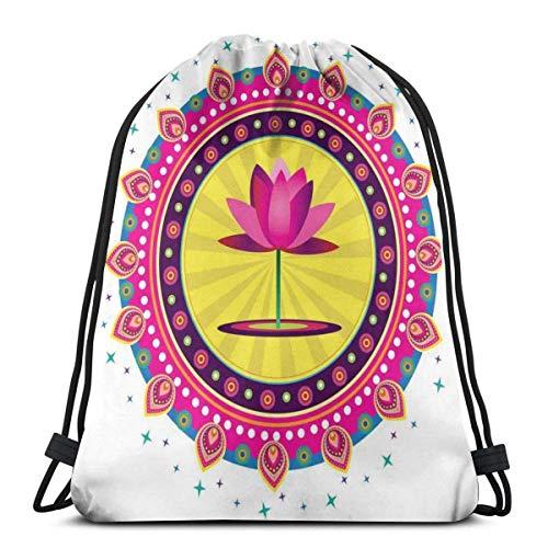 Bolsa de viaje con cordón de Bapa Sport Gym Cinch Bag para mujeres, hombres y niños, diseño circular inspirado con una flor rosa arcaica Meditación Boho
