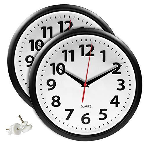 UMI. Essentials - Lot de 2 horloges murales silencieuses Moderne, Chambre Cuisine Bureau Salon,Noir et Blanc