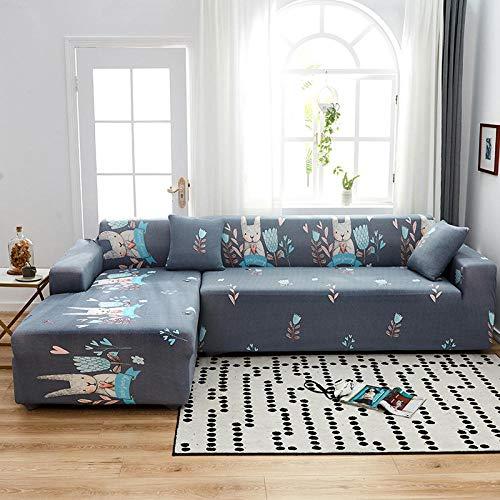 cubierta antideslizante en tejido elástico extensible 4 plazas y 4 plazas, divertida funda de sofá de dibujos animados para sala de estar,seccional con funda de animal elástica y elástica, 2 piezas