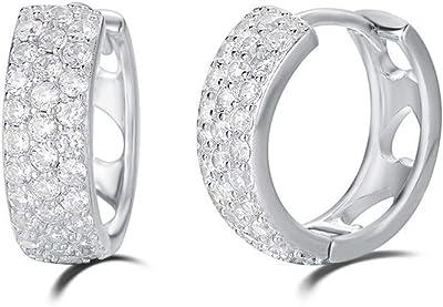 Piccolo Piercing Cartilagine Orecchini a Cerchio per Donna in Argento Sterling 925 con Zirconia Cubica Gioielleria - Diametro: 15 mm