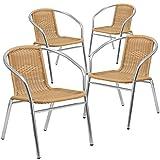Flash Furniture 4 Pack Commercial Aluminum and Beige Rattan Indoor-Outdoor Restaurant Stack Chair