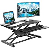 VIVO Stand Up Height Adjustable 32 inch Desk Riser, Sit Standing Converter, Dual Monitor and Laptop Workstation, Black, DESK-V000K