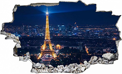 Paris Stadt Eiffelturm City Skyline Wandtattoo Wandsticker Wandaufkleber C0266 Größe 70 cm x 110 cm
