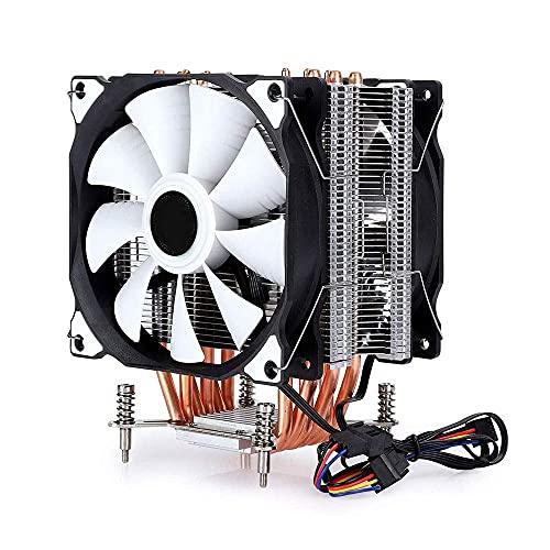 Ventilador doble de 6 tubos de cuatro hilos sin lámpara, refrigerador para ventilador doble CPU Cooler 6 tubo de cobre ultra silencioso para Intel/AMD