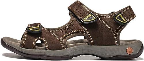 ZHRUI Sandales pour Hommes Chaussures à la Main en Cuir Pleine Fleur pour Femmes (Couleuré   Dark marron, Taille   4.5=38 EU)
