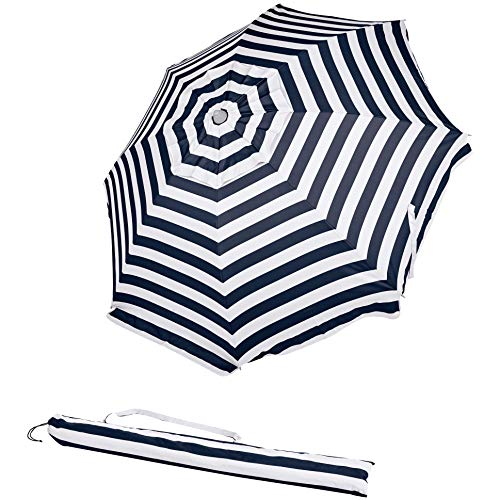 AmazonBasics Beach Sun Umbrella, Navy Blue Striped