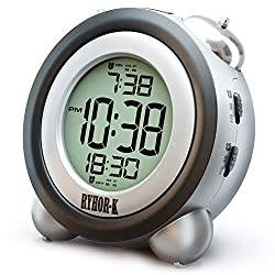 RYHOR-K Loud Alarm Clock for Heavy Sleepers - Simple Digital Clock Battery Operated for Hearing Impaired - Easy to Set Electronic Twin Bell Snooze Portable LCD Clock for Kids