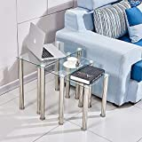 Redd Royal Tempered Glass Nest of 3 Coffee Table Set, Modern Design Sofa Side Corner End Lamp Table With Stainless Steel Legs, Small Nesting Tables for Living Room (Clear Square)