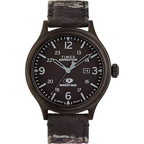 Timex Men's Expedition Scout 43mm Analog Quartz Leather Strap, Camouflage, 20 Casual Watch (Model: TW2U21100)