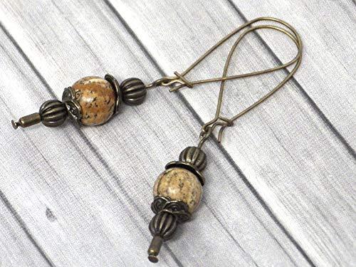 Pendientes Thurcolas de estilo vintage en jaspe marrón montados sobre elegantes aros de bronce antiguo