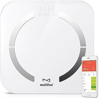 体重・体組成計 multifun 体脂肪計 体組成計 体重計 体重/体脂肪率/体水分率/推定骨量/基礎代謝量/内臓脂肪レベル/BMIなど測定可能 Bluetooth対応 iOS/Androidアプリで健康管理 ホワイト