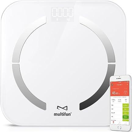 体重?体組成計 multifun 体脂肪計 体組成計 体重計 体重/体脂肪率/体水分率/推定骨量/基礎代謝量/内臓脂肪レベル/BMIなど測定可能 Bluetooth対応 iOS/Androidアプリで健康管理 ホワイト