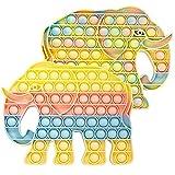 WHATOOK Push Bubble Pop Sensory Fidget Elefante Juguetes, Autismo Necesidades Especiales Alivio del estrés y Anti-Ansiedad Silicona Squeeze Toy Herramientas para niños y Adultos (Macaron)