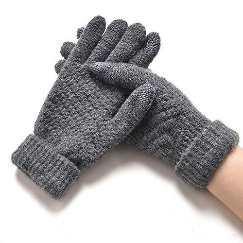 IAMZHL Frauen-Winter-warme gestrickte verdickte Dehnbare Handschuh-Handschuh-weibliche thermische beiläufige bedeckte Finger-Handschuh-Mädchen-Grey