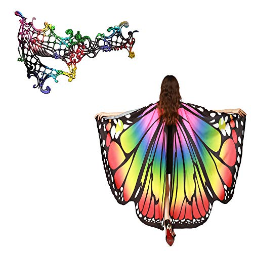 Women Butterfly Wings Shawl with Mask Fairy Ladies Cape Nymph Pixie Halloween Costume Set (2-Rainbow)